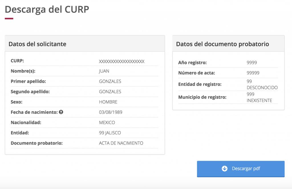 Obtener tu CURP en internet